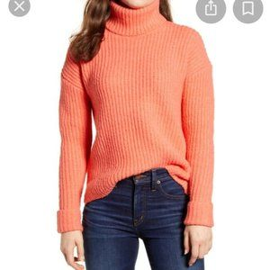 Caslon Turtleneck Sweater Coral Rose New Chunky